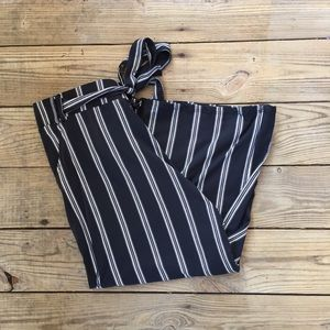 Pants - Cropped Pinstriped Pants